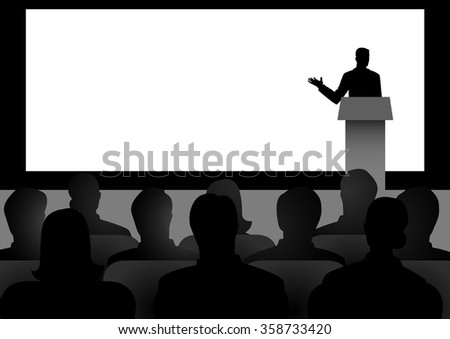 Silhouette illustration of man figure giving a speech on stage with blank big screen as the background - stock vector
