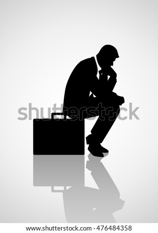 Silhouette illustration of pensive businessman sitting on his briefcase, thinking, thinker concept