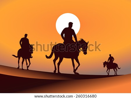Silhouette illustration of riding a horse during sunset