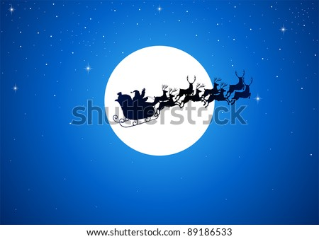 Silhouette illustration of Santa Claus driving his sleigh with the moon as the background - stock vector
