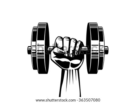 Silhouette illustration of strong hand lifting up steel dumbbell on isolated for fitness illustration job,  logo, or other - stock vector