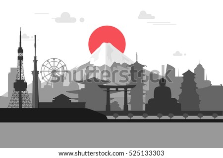 Silhouette illustration of Tokyo city in Japan.Japan landmarks Famous buildings.