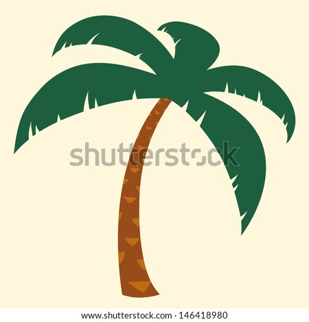 Silhouette illustration of tropical palm tree with crown of green fronds symbolic of a tropical vacation and summer travel - stock vector