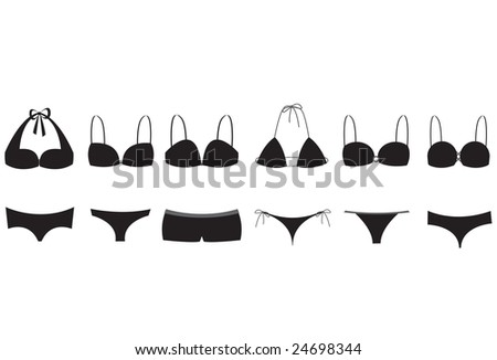 Silhouette illustrations of six bikini / lingerie styles. Easy to use as is or customize with your own colors.