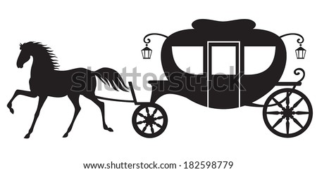 Silhouette image horse drawn carriage stock vector 182598779 silhouette image horse drawn carriage ccuart Choice Image