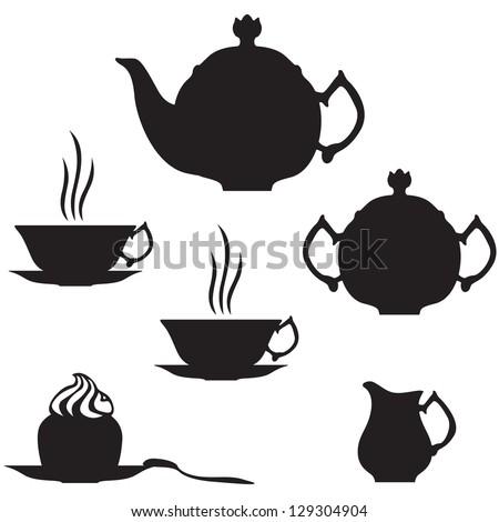 Silhouette image of tea set - stock vector