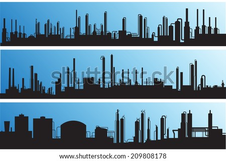 Silhouette industrial landscape:outline of factories and refineries vector illustration. - stock vector