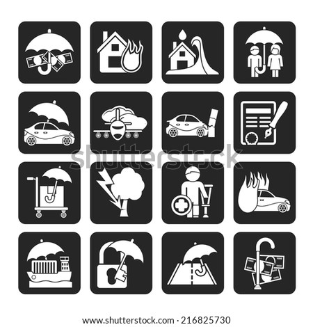 Silhouette Insurance and risk icons - vector icon set - stock vector