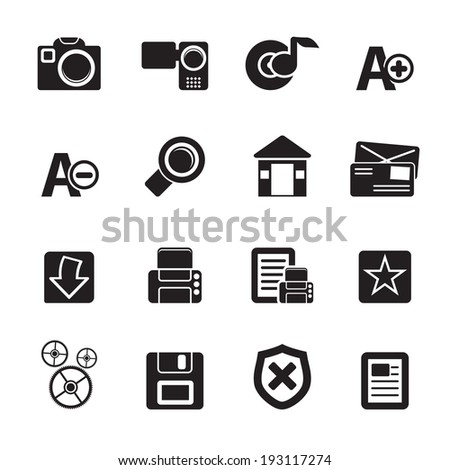 Silhouette Internet and Website icons  Vector Icon Set - stock vector