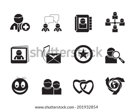 Silhouette Internet Community and Social Network Icons - vector icon set - stock vector