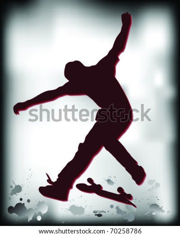 Silhouette jump skate in the mud, vector - stock vector