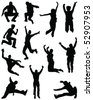 silhouette jumping people-vector - stock vector