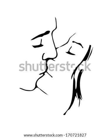 silhouette kissing couple