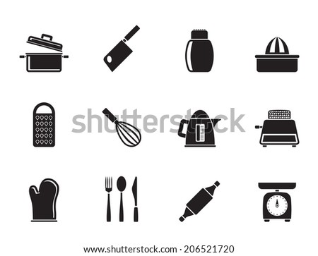 Silhouette Kitchen and household Utensil Icons - vector icon set - stock vector