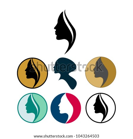 silhouette lady set logo template hairのベクター画像素材 1043264503