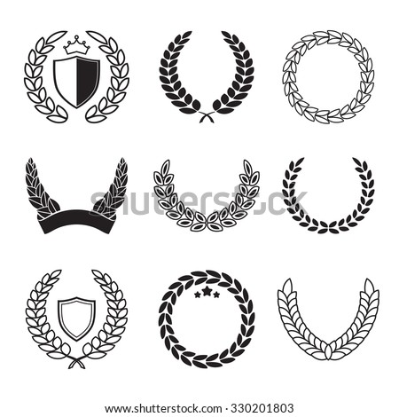 Fantastic Silhouette Laurel Wreaths Different Shapes Half Stock Vector  RK55