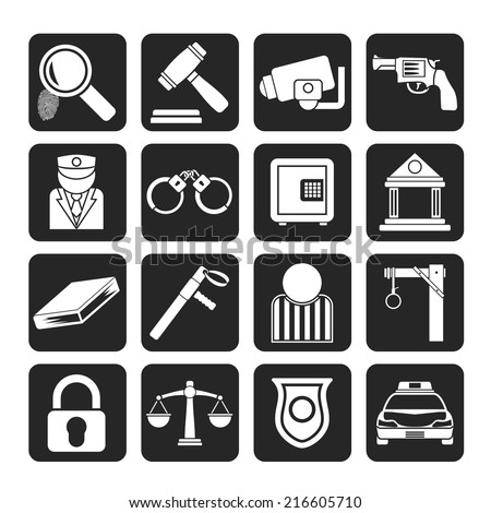 Silhouette Law, Police and Crime icons - vector icon set