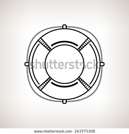 Silhouette lifebuoy, lifebelt on a light background,  black and white  vector illustration - stock vector