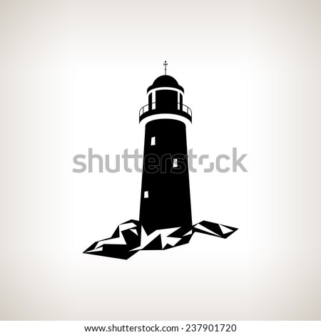 Silhouette lighthouse on a light background , black and white  vector illustration - stock vector