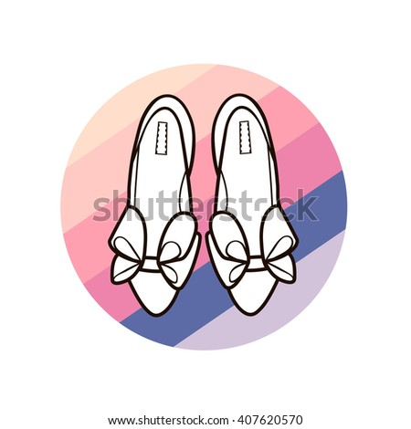 Silhouette line art of women's female shoes on colorful striped circle isolated on white background vector eps 8