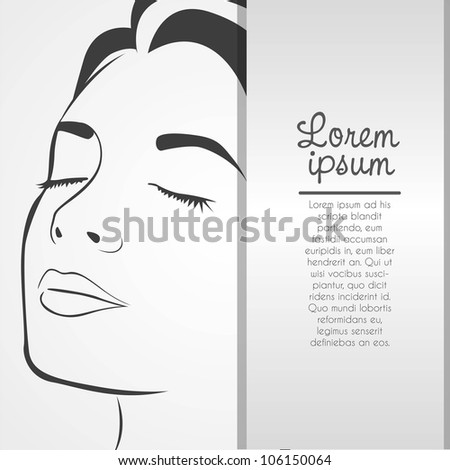 Silhouette lines of the woman's face, isolated on white background, vector illustration - stock vector