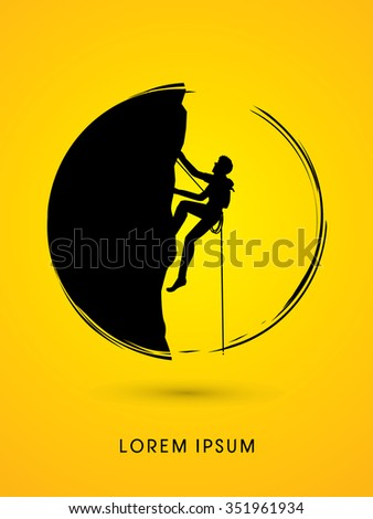 Silhouette Man climbing on a cliff, designed using grunge brush in circle shape graphic vector.