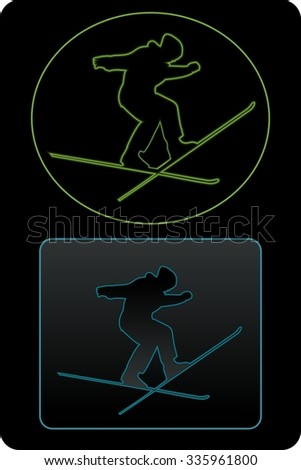 silhouette man jumps on ski, light illustration, black background