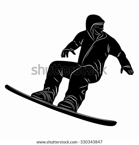silhouette man jumps on snowboard, black and white illustration, white background