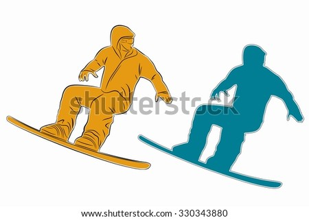 silhouette man jumps on snowboard, color illustration, white background