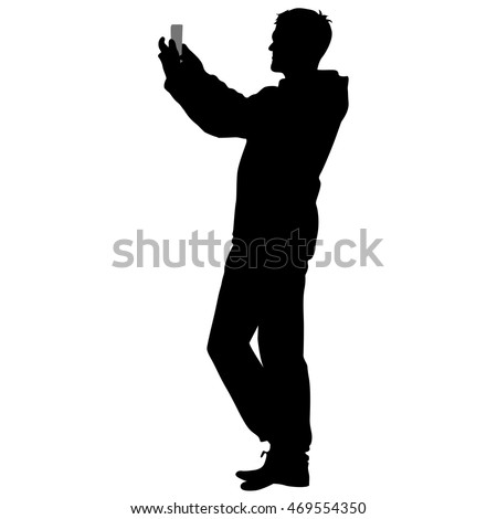 Silhouette man taking selfie with smartphone on white background. Vector illustration.
