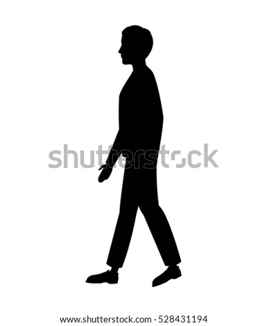 silhouette man walking side view