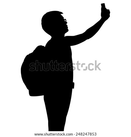 Silhouette man with backpack using mobile phone, vector format