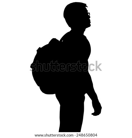Silhouette man with backpack, vector format - stock vector