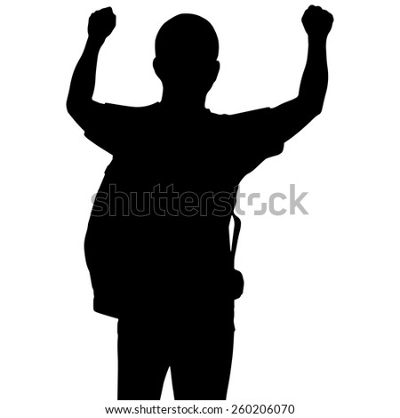 Silhouette man with showing two hands up isolated on white background