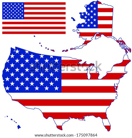 Silhouette map and flag of the USA. All objects are independent and fully editable  - stock vector