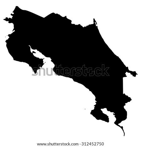 Silhouette map Costa Rica, North America  - stock vector