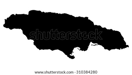 Silhouette map Jamaica, North America - stock vector