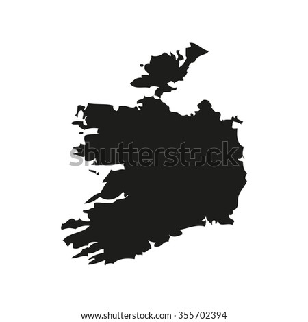 Silhouette map of Ireland in black on a white background - stock vector