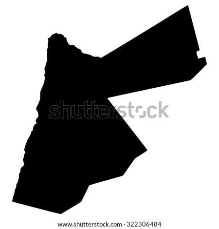 Silhouette map of Jordan, Asia - stock vector