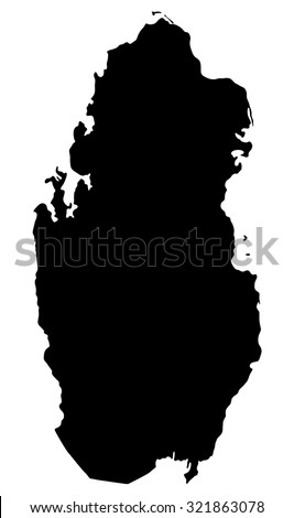 Silhouette map of Qatar, Asia - stock vector