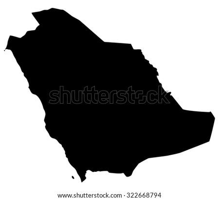 Silhouette map of Saudi Arabia, Asia - stock vector
