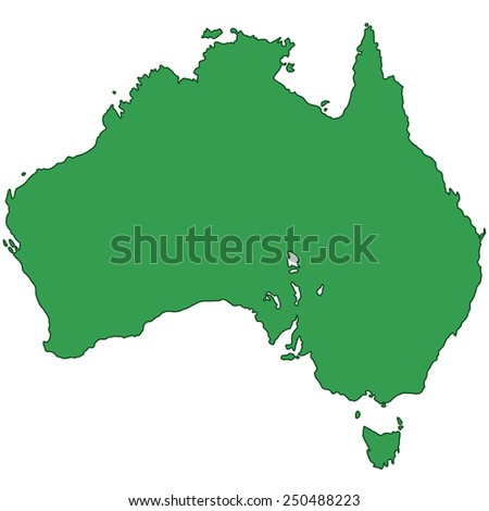 Silhouette map of the Australia. All objects are independent and fully editable