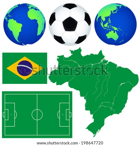 Silhouette map of the Brazil, globes, football pitch, soccerball and flag. Elements of this image furnished by NASA  - stock vector