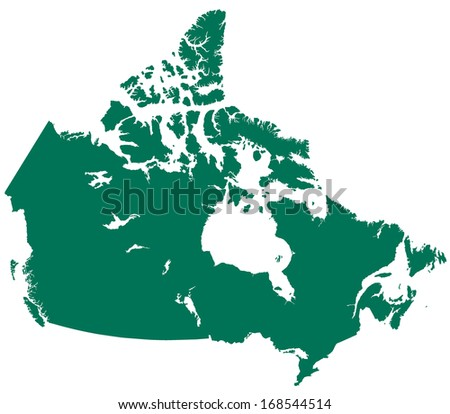 Silhouette map of the Canada. All objects are independent and fully editable - stock vector