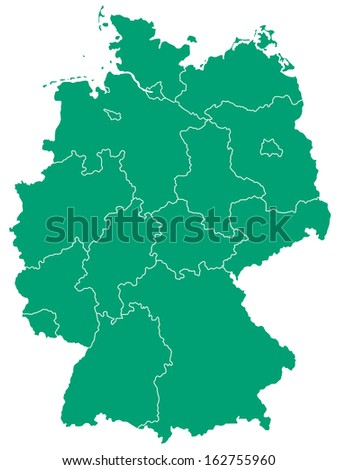 Silhouette map of the Germany.