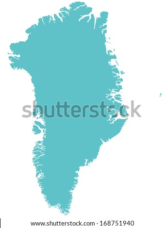 Silhouette map of the Greenland - stock vector
