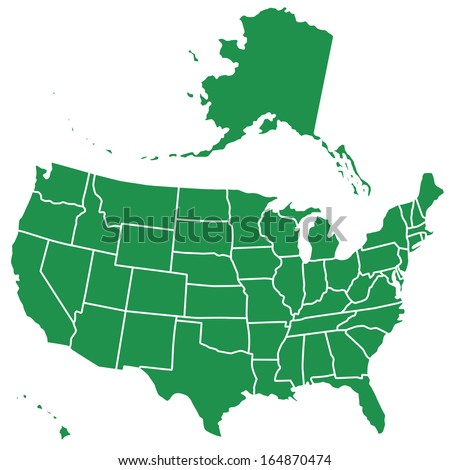 Silhouette map of the USA