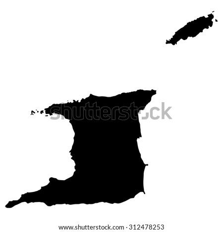 Silhouette Map Trinidad Tobago North America Stock Vector 312478253