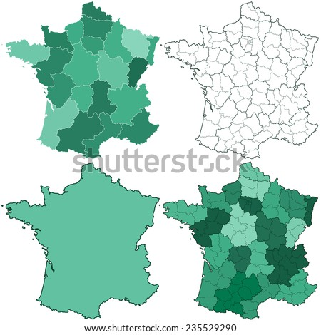 Silhouette maps set of the France with regions and departments. All objects are independent and fully editable