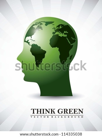 silhouette men with map, think green. vector illustration - stock vector